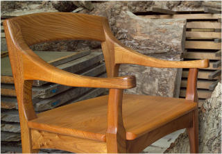 An example of a quality hardwood chair crafted by Philip Bastow, Richmond's premier bespoke furniture maker.